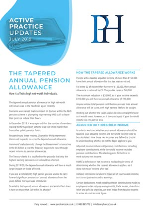 Active Practice. The Tapered Annual Pension Allowance