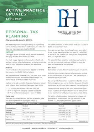Active Practice. Personal Tax Planning