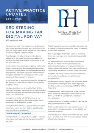 Active Practice. Registering for Making Tax Digital for VAT