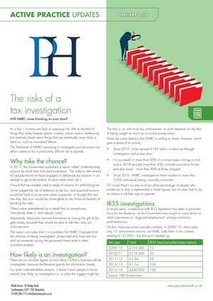 Active Practice. The Risks of a Tax Investigation