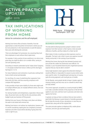 Active Practice. Tax Implications of Working from Home