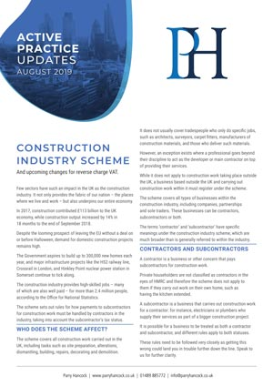 Active Practice. The Construction Industry Scheme
