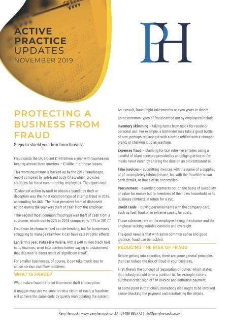 Active Practice Updates: Protecting a business from fraud