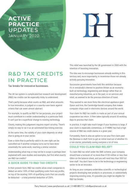 Active Practice Updates: R&D tax credits in practice