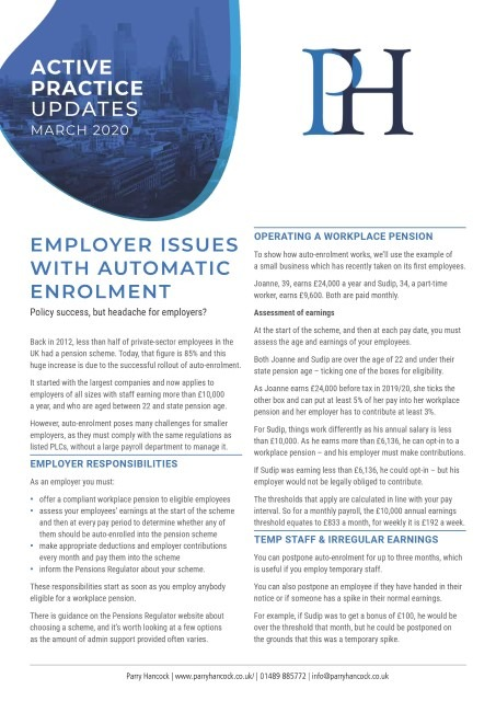 Active Practice Updates: Employer issues with automatic enrolment