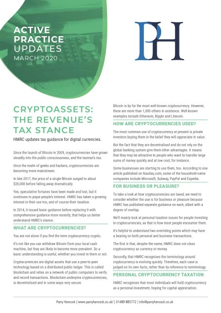 Active Practice Updates: Cryptoassets - the Revenue's tax stance