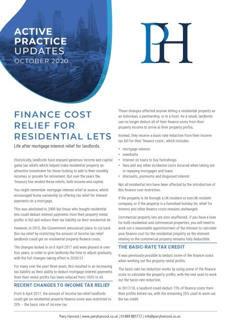 Active Practice: Finance cost relief for residential lets