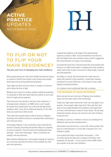 Active Practice: To flip or not to flip your residence?