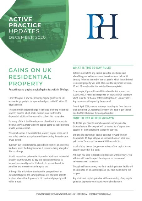 Active Practice: Gains on UK residential property