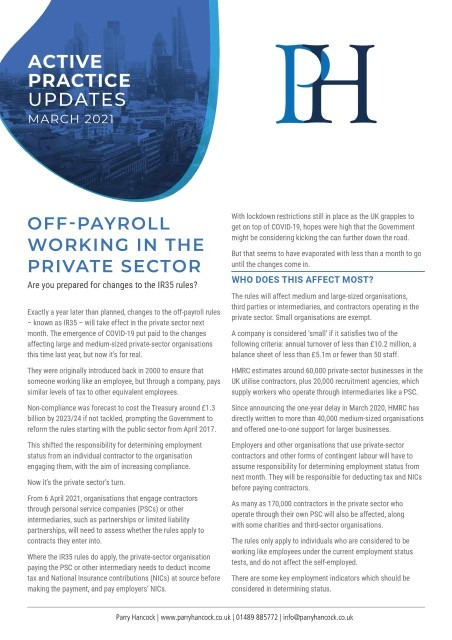 Active Practice: Off-payroll working in the private sector