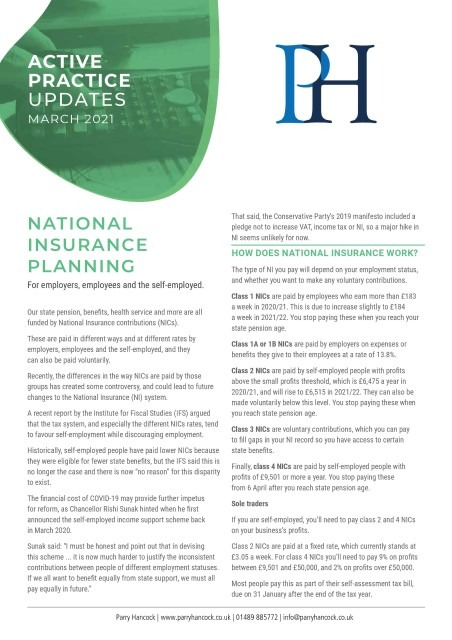 Active Practice: National insurance planning