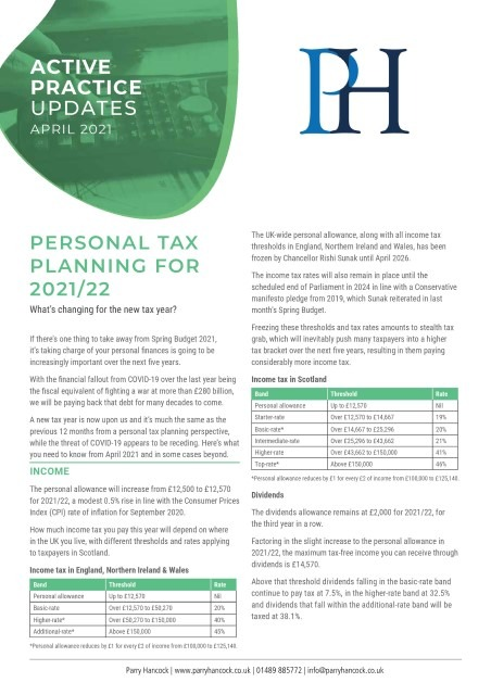 Active Practice: Personal tax planning for 2021/22