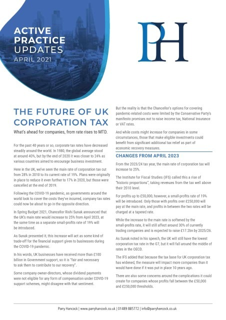 Active Practice: The future of UK corporation tax