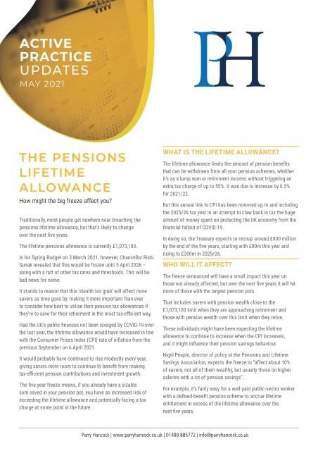 Active Practice: The pensions lifetime allowance