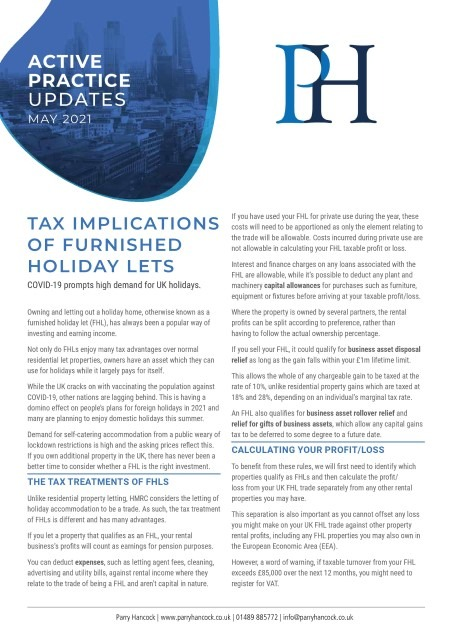 Active Practice: Tax implications of furnished holiday lets