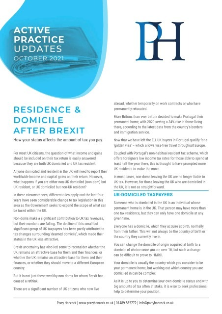Active Practice: Residence & Domicile after Brexit